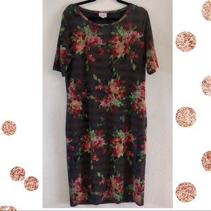 Lularoe Floral & Stripes Gray Julia Dress XL